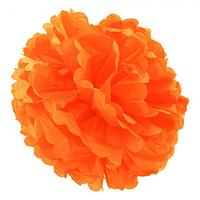 Декор бумажные Помпоны 20см оранжевый 0011
