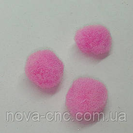 Помпони імітація хутра для творчості 13 мм Рожевий Упаковка 100 штук
