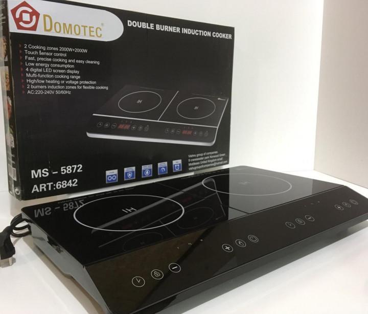 Индукционная плита DOMOTEC MS-5872 на 2 конфорки по 2000 Вт, цвет черный