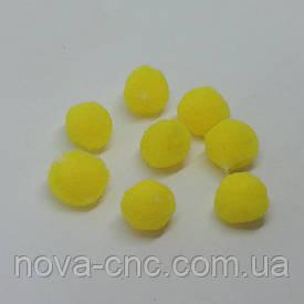 Помпони імітація хутра для творчості 15 мм Жовтий Упаковка 100 штук
