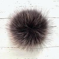 Бубони (помпон) для шапок з хутра песця діаметр 14-15 см коричневий з білими пір'ям