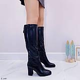 Черные сапоги женские ДЕМИ на каблуке 8 см эко-кожа, фото 6
