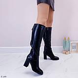 Черные сапоги женские ДЕМИ на каблуке 8 см эко-кожа, фото 5