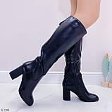 Черные сапоги женские ДЕМИ на каблуке 8 см эко-кожа, фото 2