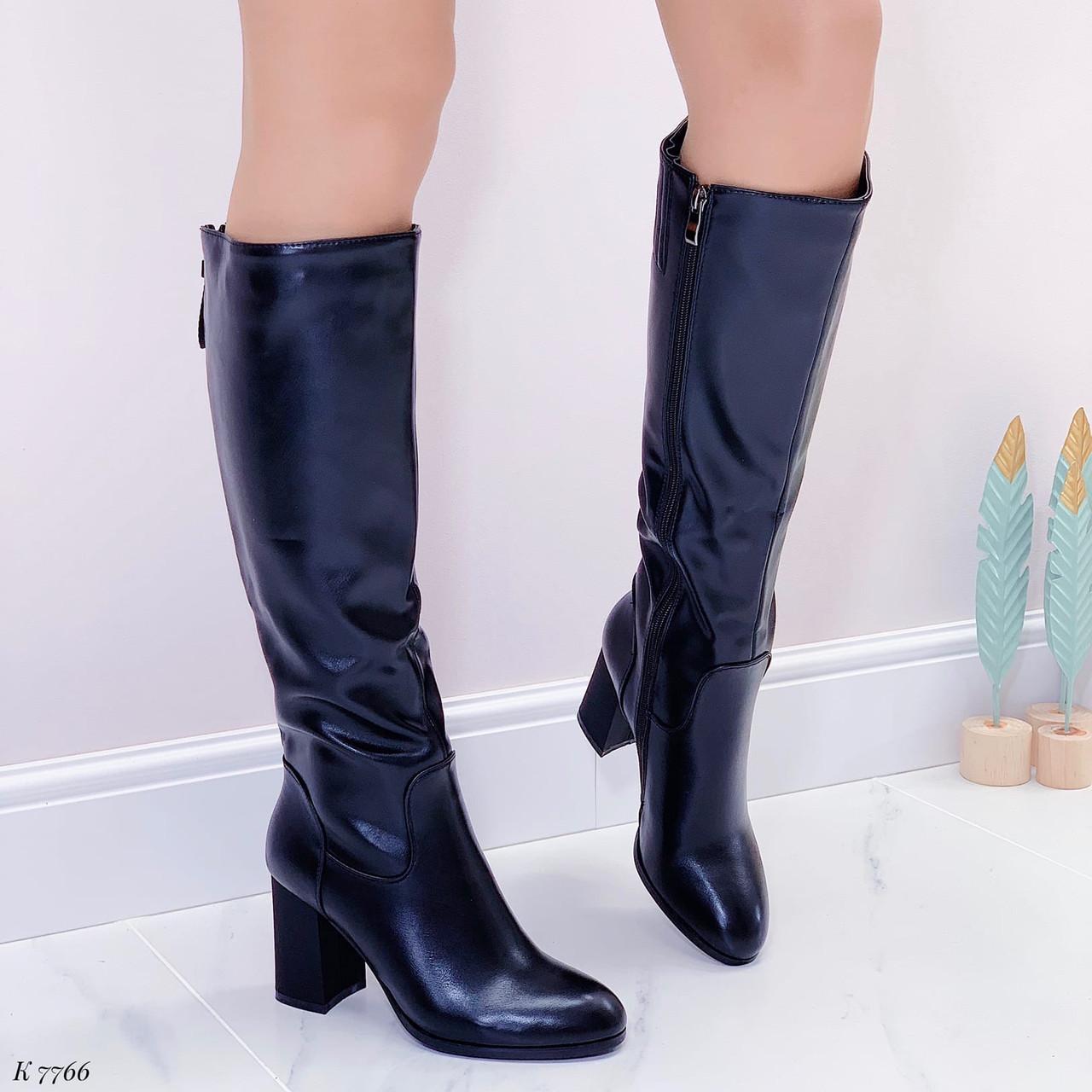 Черные сапоги женские ДЕМИ на каблуке 8 см эко-кожа