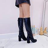 Черные сапоги женские ДЕМИ на каблуке 8 см эко-кожа, фото 4