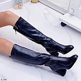 Черные сапоги женские ДЕМИ на каблуке 8 см эко-кожа, фото 3