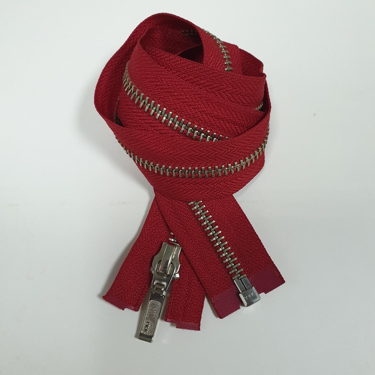 Молния YKK 75 см красная, металлическая, никель с одним бегунком №5
