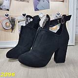 Ботинки деми на удобном широком каблуке с пряжкой, фото 2