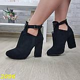Ботинки деми на удобном широком каблуке с пряжкой, фото 7