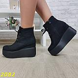 Ботинки замшевые на высокой платформе с танкеткой на шнуровке, фото 2