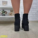 Ботинки замшевые на высокой платформе с танкеткой на шнуровке, фото 4