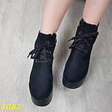 Ботинки замшевые на высокой платформе с танкеткой на шнуровке, фото 5
