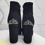 Ботинки замшевые на шнуровке классика широкий каблук, фото 2