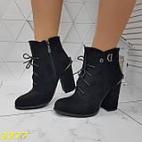 Ботинки замшевые на шнуровке классика широкий каблук, фото 3