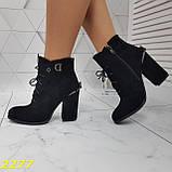 Ботинки замшевые на шнуровке классика широкий каблук, фото 5