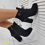Ботинки замшевые на шнуровке классика широкий каблук, фото 8