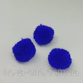 Помпони імітація хутра для творчості 25 мм Синій Упаковка 100 штук