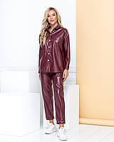 Женский кожаный костюм 2123 (42 44 46 48) (цвета: черный, бордо, капучино) СП, фото 1