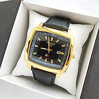 Мужские наручные часы Tissot (Тисот) на кожаном ремешке - золотой корпус с черным циферблатом - код 1651, фото 1