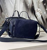 Сумка женская средняя вместительная шоппер на плечо саквояж синяя натуральная замша+кожзам, фото 1