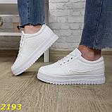 Кроссовки белые на высокой толстой платформе белые, фото 2