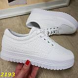 Кроссовки белые на высокой толстой платформе белые, фото 4