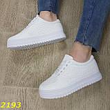 Кроссовки белые на высокой толстой платформе белые, фото 7