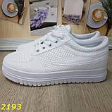 Кроссовки белые на высокой толстой платформе белые, фото 8