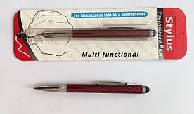Стилус ёмкостный, с выдвижной шариковой ручкой, металлический (Бордовый)