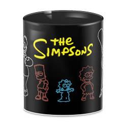 Чашка черная  с принтом Симпсоны