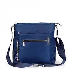 Женская сумка синяя тканевая молодежная на плечо с карманами Dolly 651
