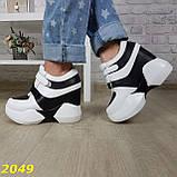 Сникерсы кроссовки на высокой платформе с танкеткой на липучках белые с черным, фото 5