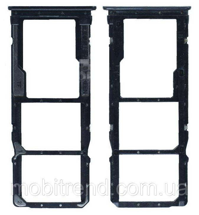 Сим держатель (SIM холдер) для Xiaomi Redmi 7 Черный