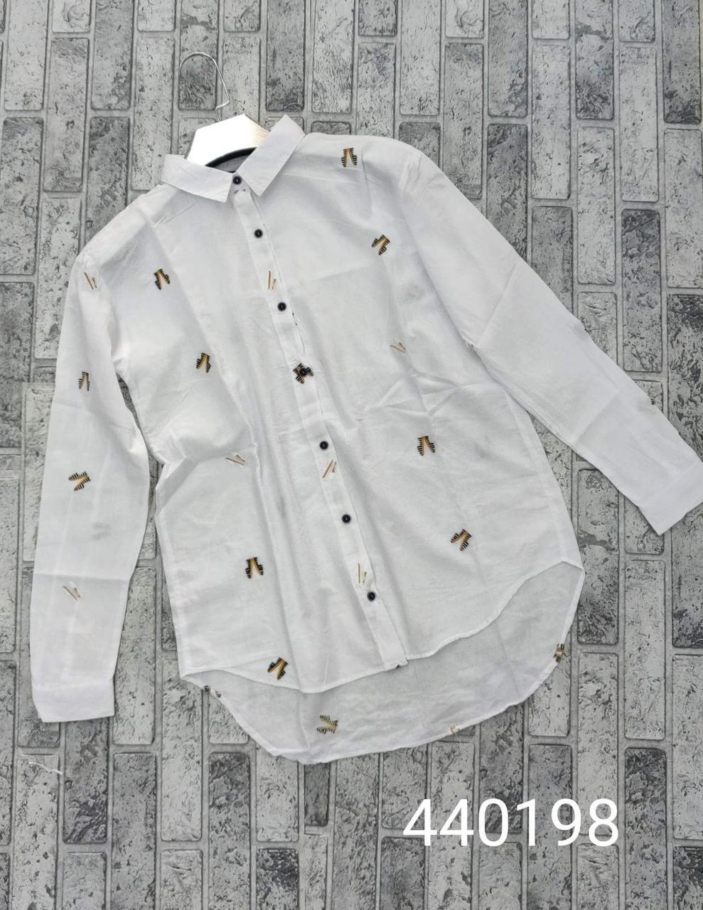 Женская белая рубашка с удлиненной спинкой (42-46)