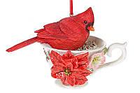 Елочное украшение подвеска птица Кардинал 9 см, (4 шт)