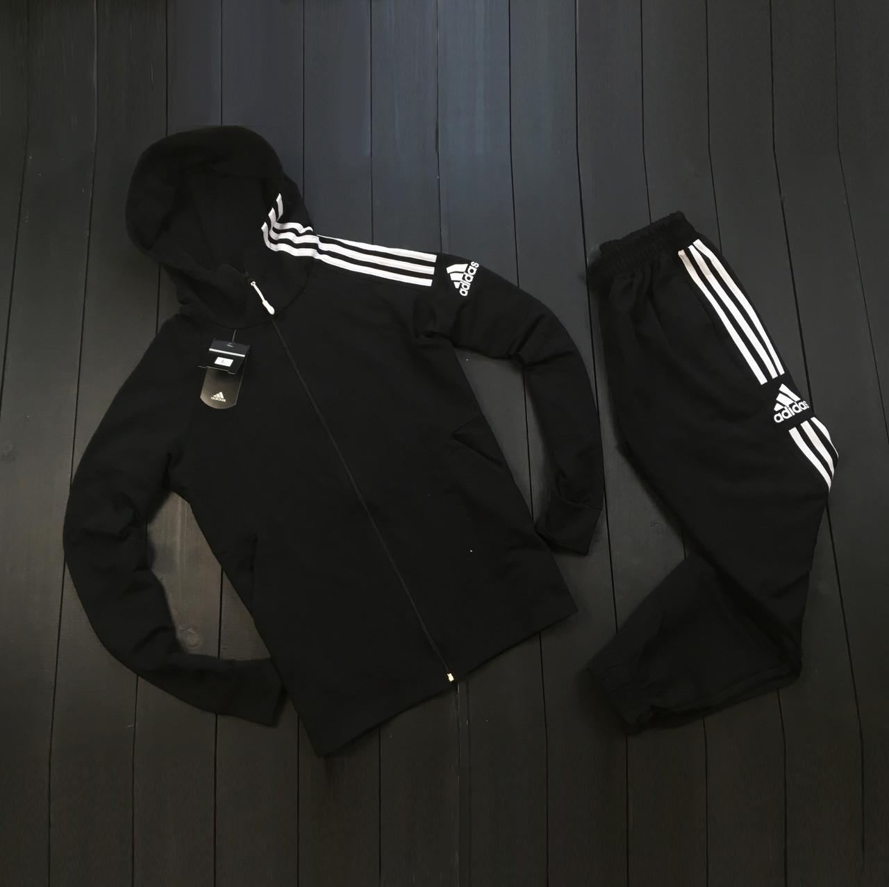 Мужской весенний костюм Adidas (black/white), спортивный костюм Адидас (Реплика ААА)