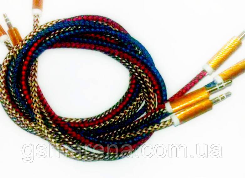 AUX кабель Jack 3.5mm + Jack 3.5mm Золотой 1m