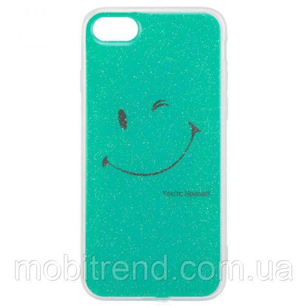 Чехол силиконовый Glue Case Smile shine iPhone 7, 8 Бирюзовый