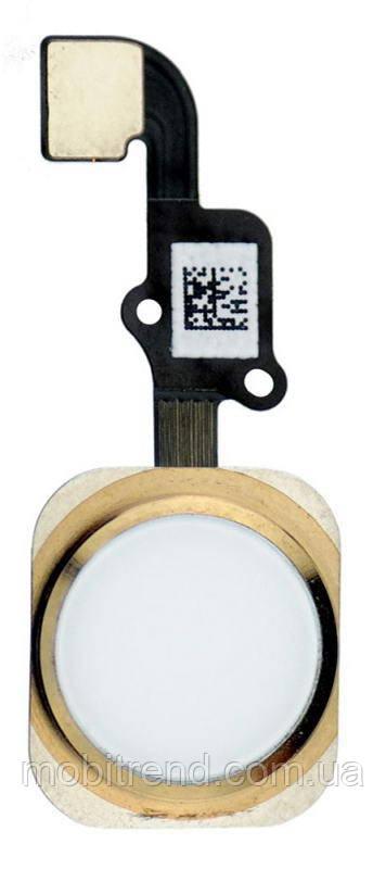 """Шлейф для Apple iPhone 6 (4.7"""") центральная кнопка Home Complete Золотой"""