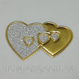 "Аппликация термо-клеевая ""Сердца"" 60 х 40 мм серебро и золото упаковка 10 шт"