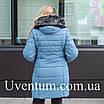 Зимові Пуховики жіночі великих розмірів 56,58,60 блакитний, фото 4