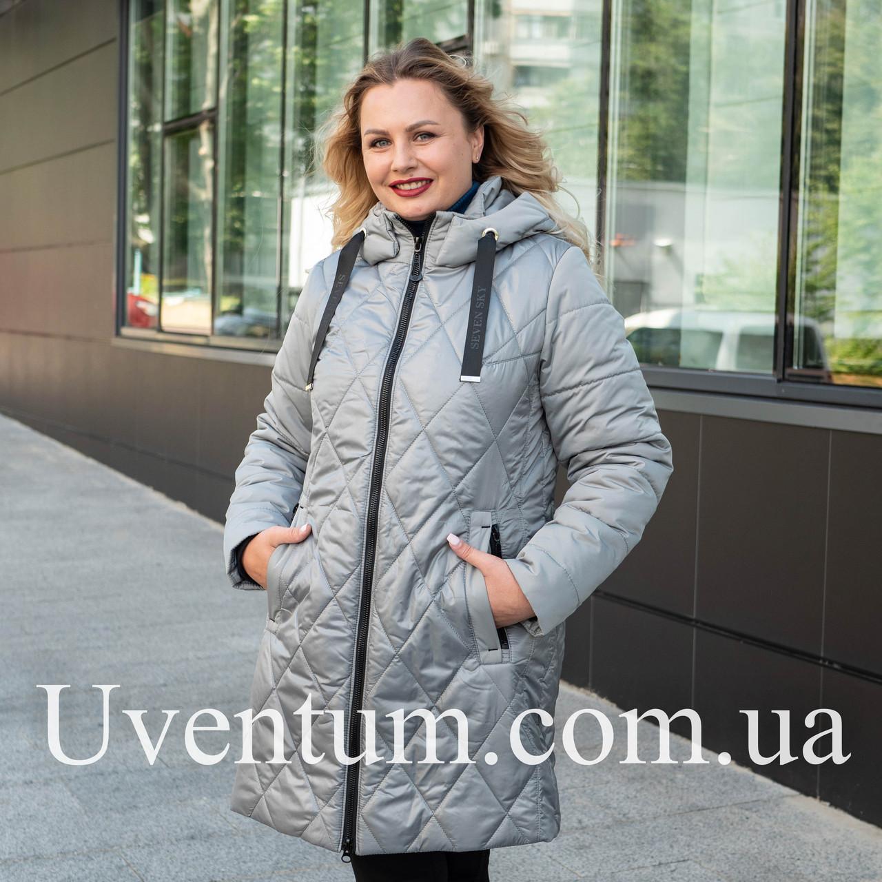 Женская демисезонная куртка большого размера   50-60 оливковый