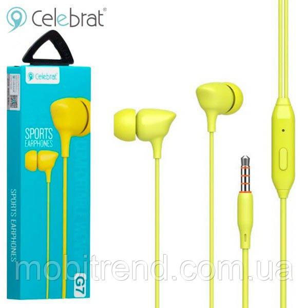 Наушники с микрофоном Celebrat G7 Желтый