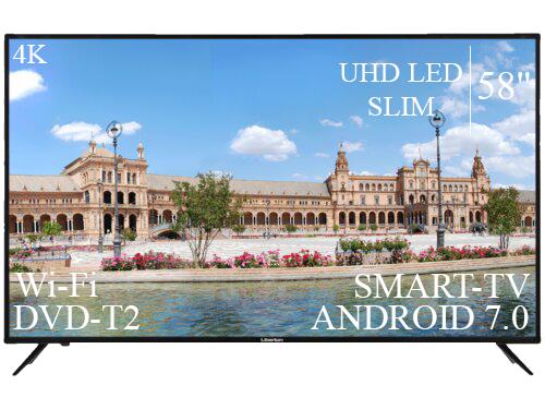 """Качественный Телевизор Liberton 58"""" Smart-TV/DVB-T2/USB Android 7.0 4К/UHD"""