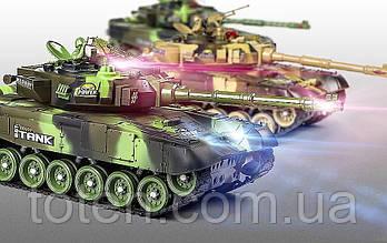Танковий бій два танки на радіокеруванні 9993. Вращ. вежі, аккум, світло, звук, повн компл 5525