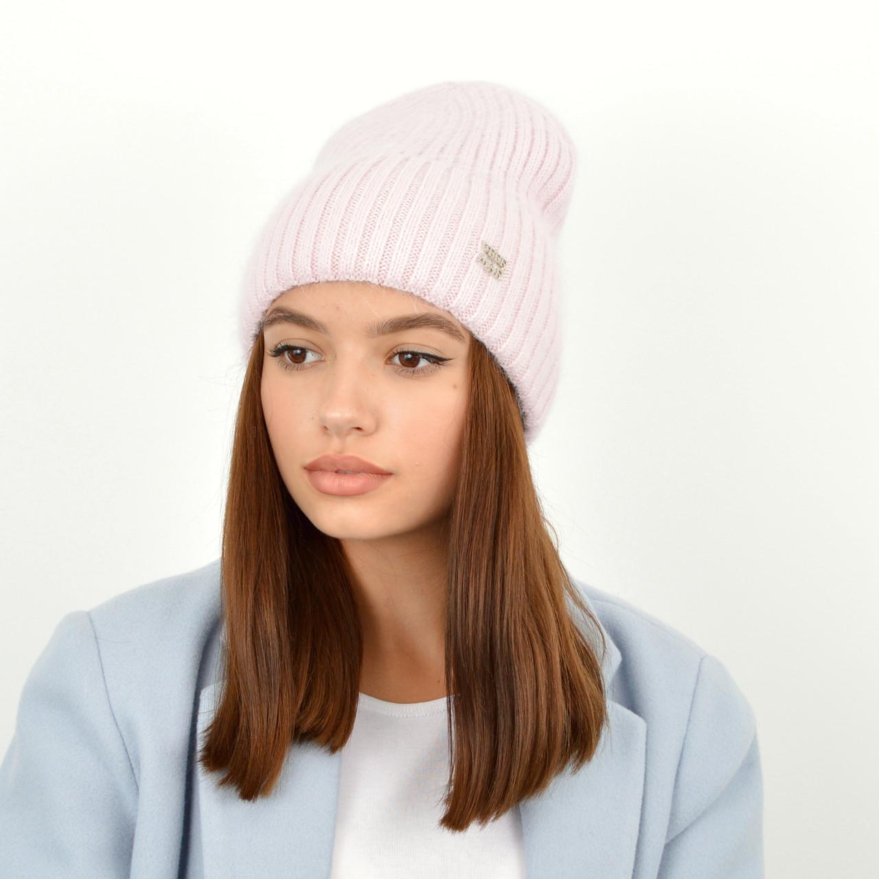 Шапка ангоровая Саванна Розовый/розовый