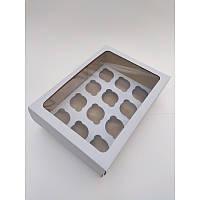 Коробка на 12 капкейків з вікном з мікрогофрокартону, 350*250*110