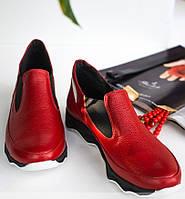 Демисезонные  кожаные женские спортивные туфли-кроссовки,красный/черный 36-41р