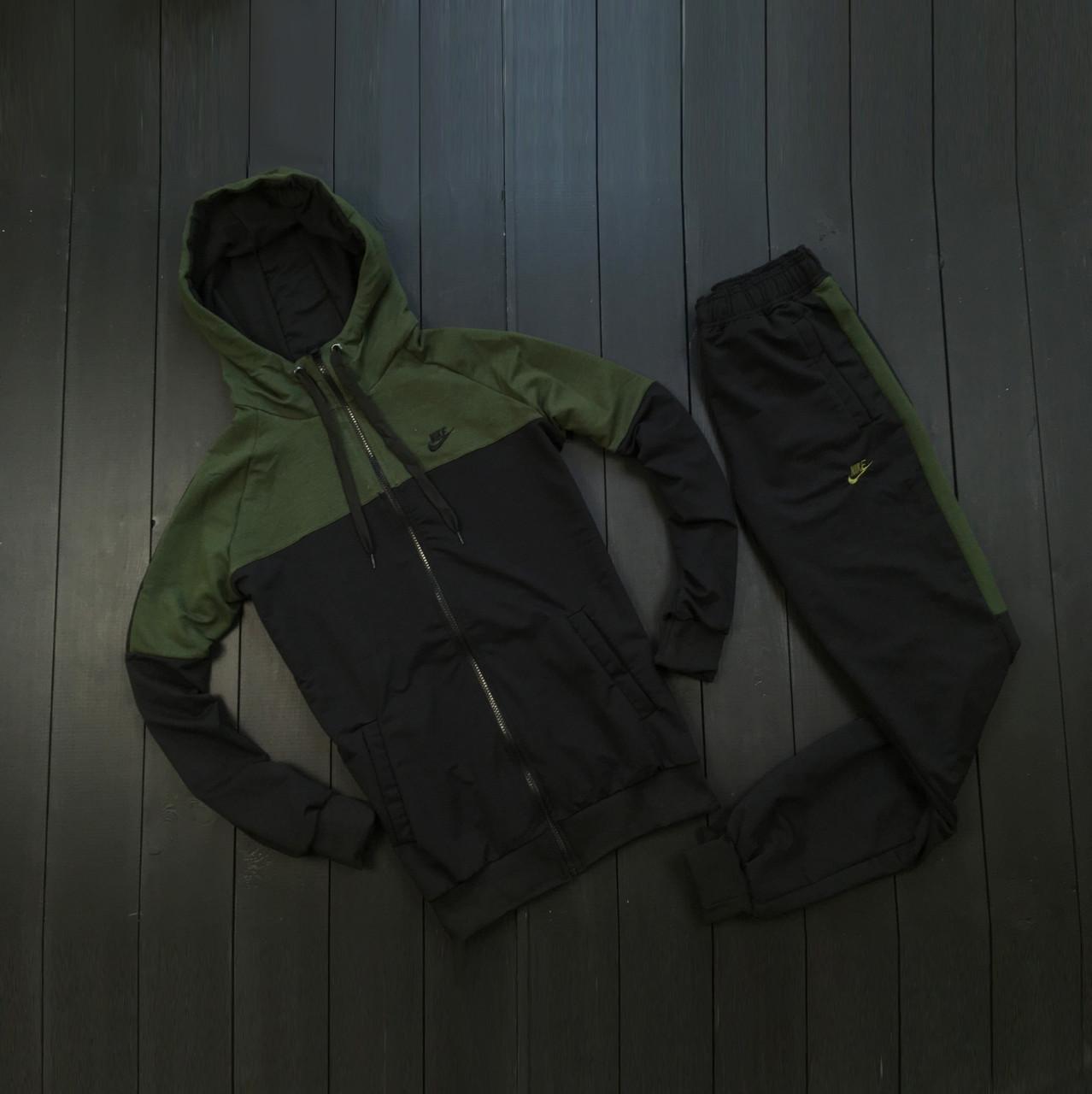 Мужской осенний спортивный костюм Nike (black/white), спортивный костюм Найк (Реплика ААА)